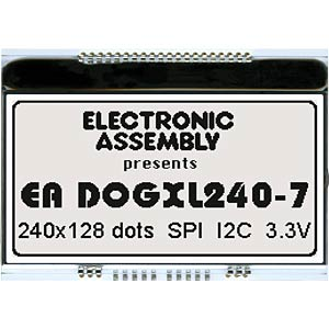 Graphics module, 240 x 128, white non-illuminated ELECTRONIC ASSEMBLY EA DOGXL240N-7