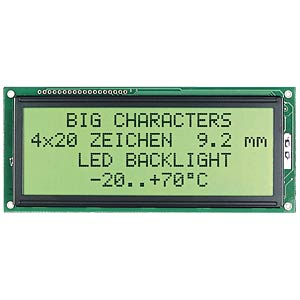 LCD-Modul, 2x20, H:9,2mm, ge/gn, m.Bel. ELECTRONIC ASSEMBLY EA P202-B2HNLED
