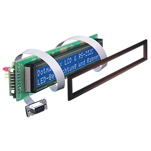 LCD-Modul, 2x20, H:5,6mm, bl/ws, m.Bel., seriell ELECTRONIC ASSEMBLY EA SER202-NLWK