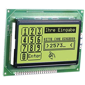 LCD-Grafikdisplay, 128x64 Pixel, ge/gn, m.Bel. ELECTRONIC ASSEMBLY EA W128-6N2LED
