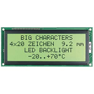 LCD-Modul, 2x16, H:5,6mm, ge/gn, m.Bel. ELECTRONIC ASSEMBLY EA W162-N3LED