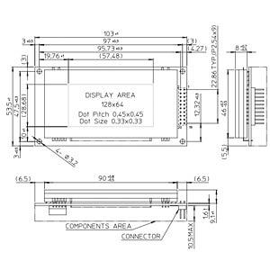 LCD-Grafikdisplay, 128x64 Pixel, sw/gn, m.Bel. FUTUBA GP 9002A01A