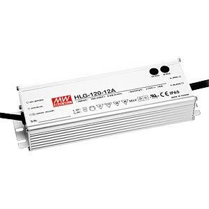 Switching power supply f. LED, 120W/12V/10 A, IP65 MEANWELL HLG-120H-12A