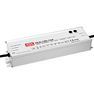 Switching power supply f. LED, 156W/12V/13 A, IP65 MEANWELL HLG-185H-12A