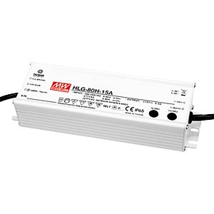 Switching power supply f. LED, 60 W/12 V/5.0 A, IP67 MEANWELL HLG-80H-12B