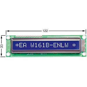 LCD Dot-Matrix-Modul, 1x16 Zeichen, blau ELECTRONIC ASSEMBLY EA W161B-ENLW