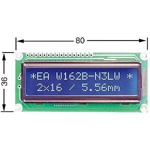 LCD dot matrix module, 2 x 16 characters, blue ELECTRONIC ASSEMBLY EA W162B-N3LW