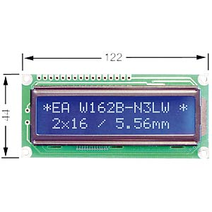 LCD dot matrix module, 2 x 16 characters, blue ELECTRONIC ASSEMBLY EA W162B-BNLW