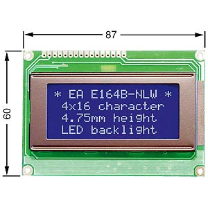 LCD Dot-Matrix-Modul, 4x16 Zeichen, blau ELECTRONIC ASSEMBLY EA W164B-NLW