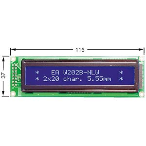 LCD dot matrix module, 2 x 20 characters, blue ELECTRONIC ASSEMBLY EA W202B-NLW