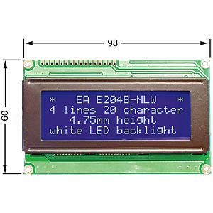 LCD-Modul, 4x20, H:4,8mm, bl/ws, m.Bel. ELECTRONIC ASSEMBLY EA W204B-NLW