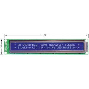 LCD Dot-Matrix-Modul, 2x40 Zeichen, blau ELECTRONIC ASSEMBLY EA W402B-NLW