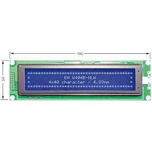LCD dot matrix module, 4 x 40 characters, blue ELECTRONIC ASSEMBLY EA W404B-NLW