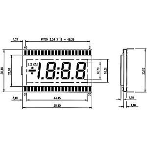 LCD-7-Segment, 1x3 + SZ, H:12,7mm DISPLAY ELEKTRONIK DE 113-RS-20/7,5