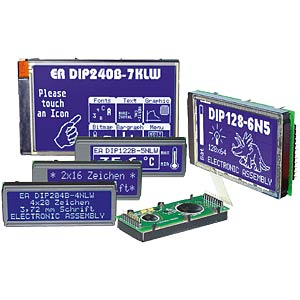 LCD DIP module, dot matrix, 2 x 16 characters, blue ELECTRONIC ASSEMBLY EA DIP162-DN3LW