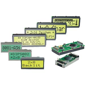 LCD DIP module, dot matrix, 2 x 8 characters, green ELECTRONIC ASSEMBLY EA DIPS082-HNLED