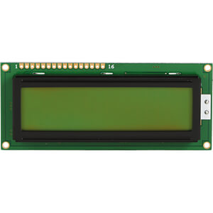 LCD-Modul, 2x16, H:7,8mm, ge/gn, m.Bel. DISPLAY ELEKTRONIK DEM 16214 SYH-LY