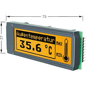 LCD DIP-Grafikmodul, 122 x  32 Punkte, amber ELECTRONIC ASSEMBLY EA DIP122J-5NLA