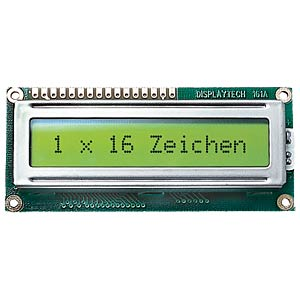 LCD-Modul, 1x16, H:6,0mm, ge/gn, m.Bel. DISPLAYTECH 161A BC BC