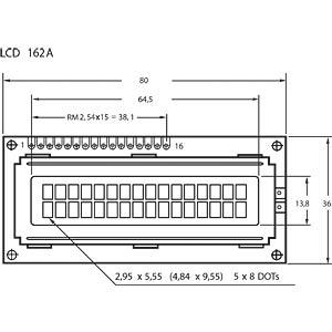LCD-Modul, 2x16, H:5,6mm, ge/gn, m.Bel. DISPLAYTECH 162C BC BC