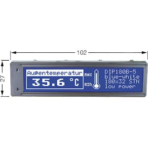 LCD DIP-Grafikmodul, 180 x  32 Punkte, blau ELECTRONIC ASSEMBLY EA DIP180B-5NLW