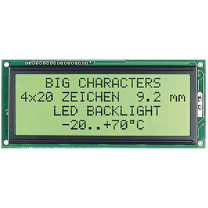 LCD-Modul, 4x20, H:4,8mm, ge/gn, m.Bel. ELECTRONIC ASSEMBLY EA W204-NLED