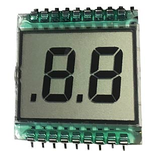 LCD display, 2-digit, height 13 mm DISPLAY ELEKTRONIK DE112RS-20/6.35