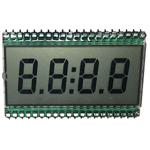 LCD display, 4-digit, height 13 mm DISPLAYTECH DE119-RS-20/6,35