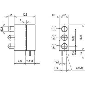 Ampel-LED-Baustein, Ø 3mm, rot/rot/rot MENTOR 18.812.220