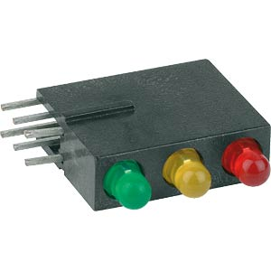 Traffic light LED module, Ø 3 mm, red/yellow/green MENTOR 18.818.720