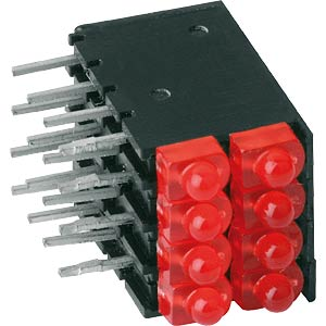Doppel-LED-Leiste, rot, Ø 2mm, 4-spaltig MENTOR 28.162.004