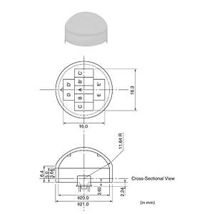 Fresnel lens for PIR sensors, Ø 21 mm, natural white MURATA PPGI-0601