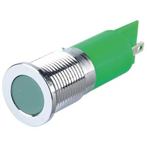 Indicator LED, 12 V DC, 14 mm, FASTON, green/BrC APEM Q14F1CXXG12E
