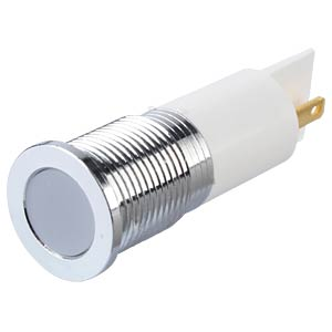 Indicator LED, 12 V DC, 14 mm, FASTON, white/BrC APEM Q14F1CXXW12E