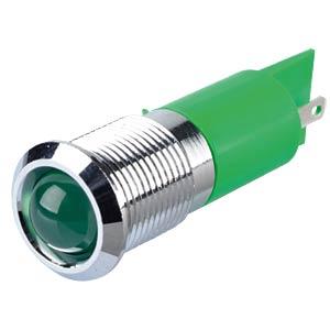 Indicator LED, 12 V DC, 14 mm, FASTON, green/BrC APEM Q14P1CXXG12E
