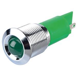 Indicator LED, 12 V DC, 16 mm, FASTON, green/BrC APEM Q16P1CXXG12E