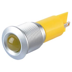Indicator LED, 220 V AC, 16 mm, FASTON, yellow/SG APEM Q16P1GXXY220E