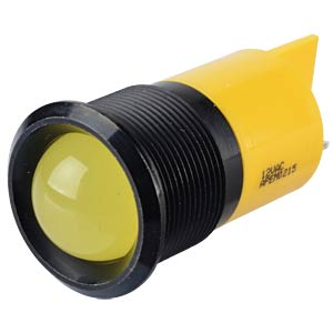 Indicator LED, 12 V AC/DC, 22 mm, FASTON, yellow/BlC APEM Q22P1BXXY12AE