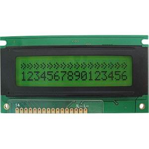 LCD-Modul, 2x16, H:5,6mm, ge/gn, m.Bel. DISPLAY ELEKTRONIK DEM16217SYH-PY-CYR22