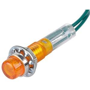Neon-Signallampe, gelb, 28 V, Ø 7,5 mm, rund, Kabelanschluss RND COMPONENTS RND 210-00029