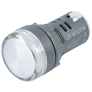 LED Indicator, 12V, srew, 21,5mm, white RND COMPONENTS RND 210-00058