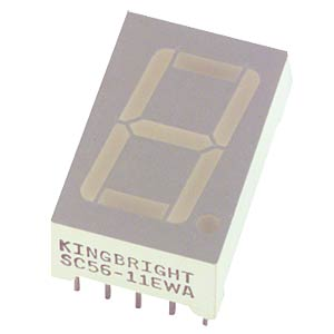 7-segment display, blue, 14.2 mm, acc. Cathode KINGBRIGHT SC56-11QBWA-D
