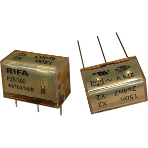Radio interference suppression capacitors, XY, 100 nF, 275 V, RM KEMET PZB300MC13R30