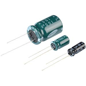 Electrolytic capacitor, 10 x 16 mm, spacing 5.0 mm FREI