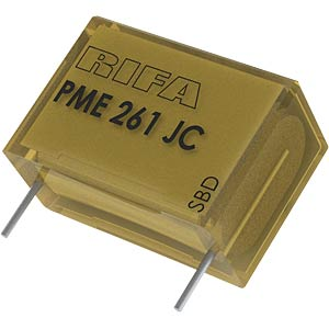 Suppression capacitor, 100nF, 500V, 70°C KEMET PME261JC6100KR30