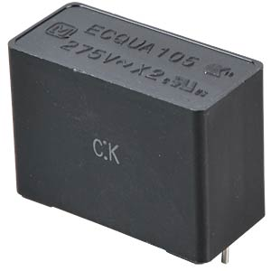 Folienkondensator, 1,0 uF, 275 VAC PANASONIC ECQUAAF105KA