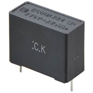 Funkentstörkondensator, X2, 1,0 µF, 275 V, RM 22,5, 110°C, 20% PANASONIC ECQUAAF105M