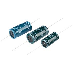 Audio frequency electrolytic capacitor, axial, 10 µF/63 V FREI
