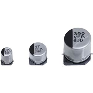 Electrolytic capacitor, SMD design, 105°C, low ESR PANASONIC EEEFP1A151AP
