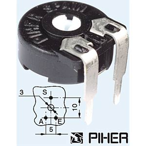 PT 10-L 100 - Einstellpotentiometer, liegend, 10mm, 100 Ohm